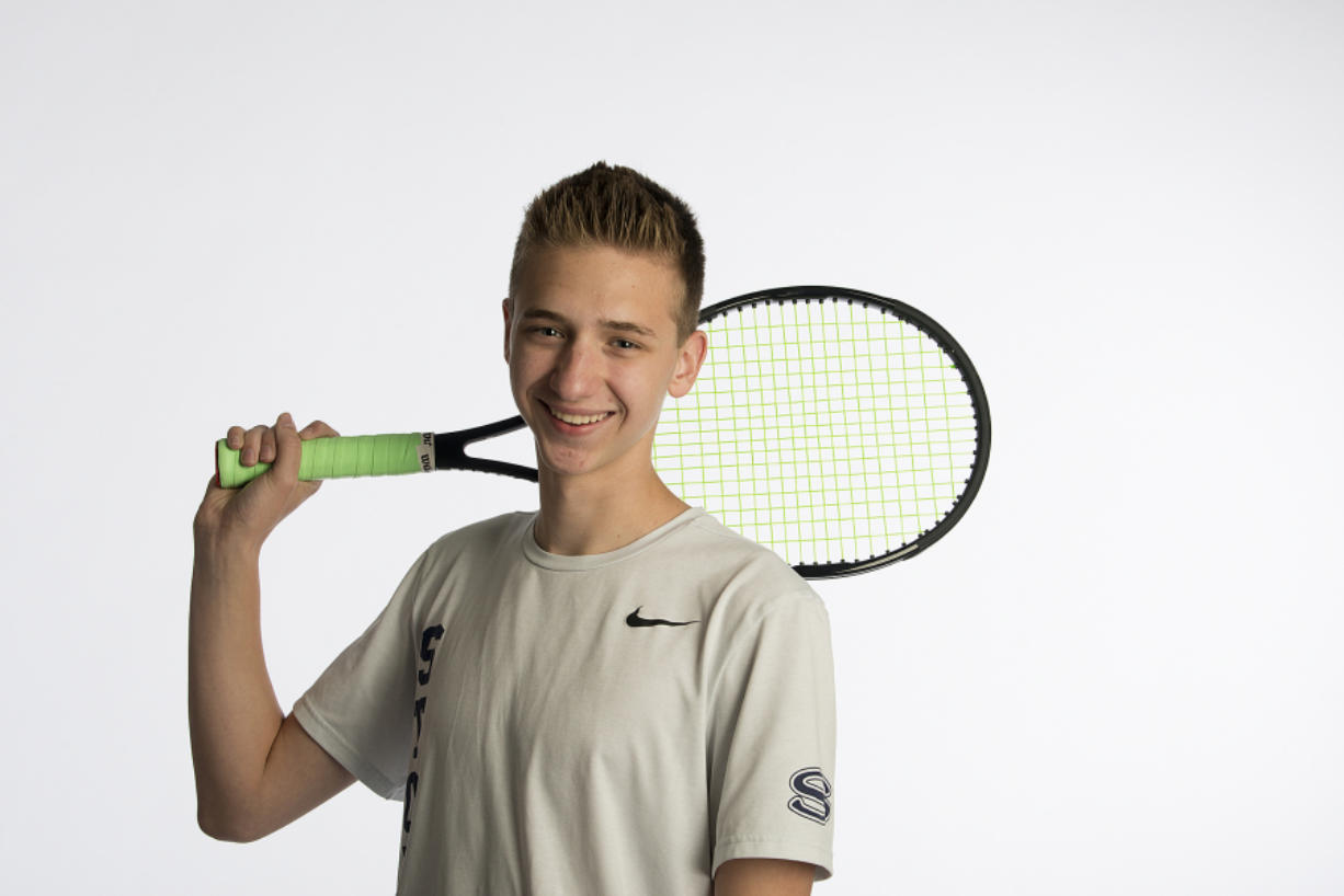 Skyview's Andrew Kabacy, our All-Region boys tennis player of the year, is a state champion for the second straight year, as seen at The Columbian on Wednesday afternoon, May 30, 2018.
