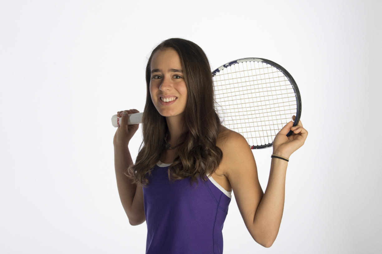 Faith Grisham, 17, a junior at Columbia River, is our All-Region girls tennis player of the year. She placed third at the 2A state tournament. She is pictured at The Columbian on Thursday afternoon, May 31, 2018.