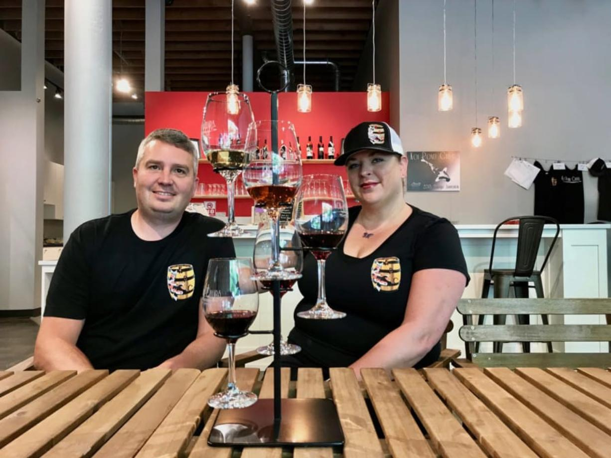 Wes and Michelle Parker of Koi Pond Cellars at their new bistro and tasting room in downtown Vancouver.