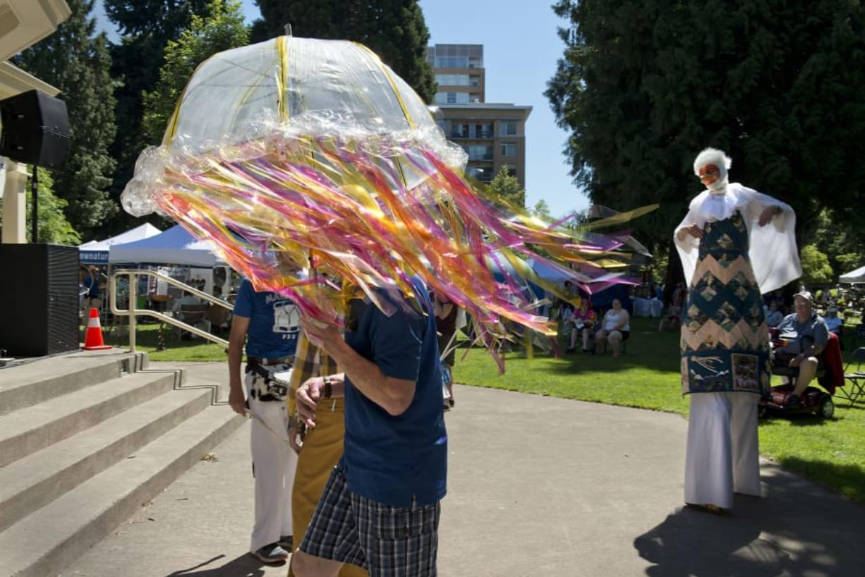 The Columbian files The 2017 Recycled Arts Festival included Vancouver's first Procession of the Species, an idea borrowed from Olympia. Don Holder of Olympia was in town with his jellyfish costume, which won Best Costume in the adult division. Who will win this year?