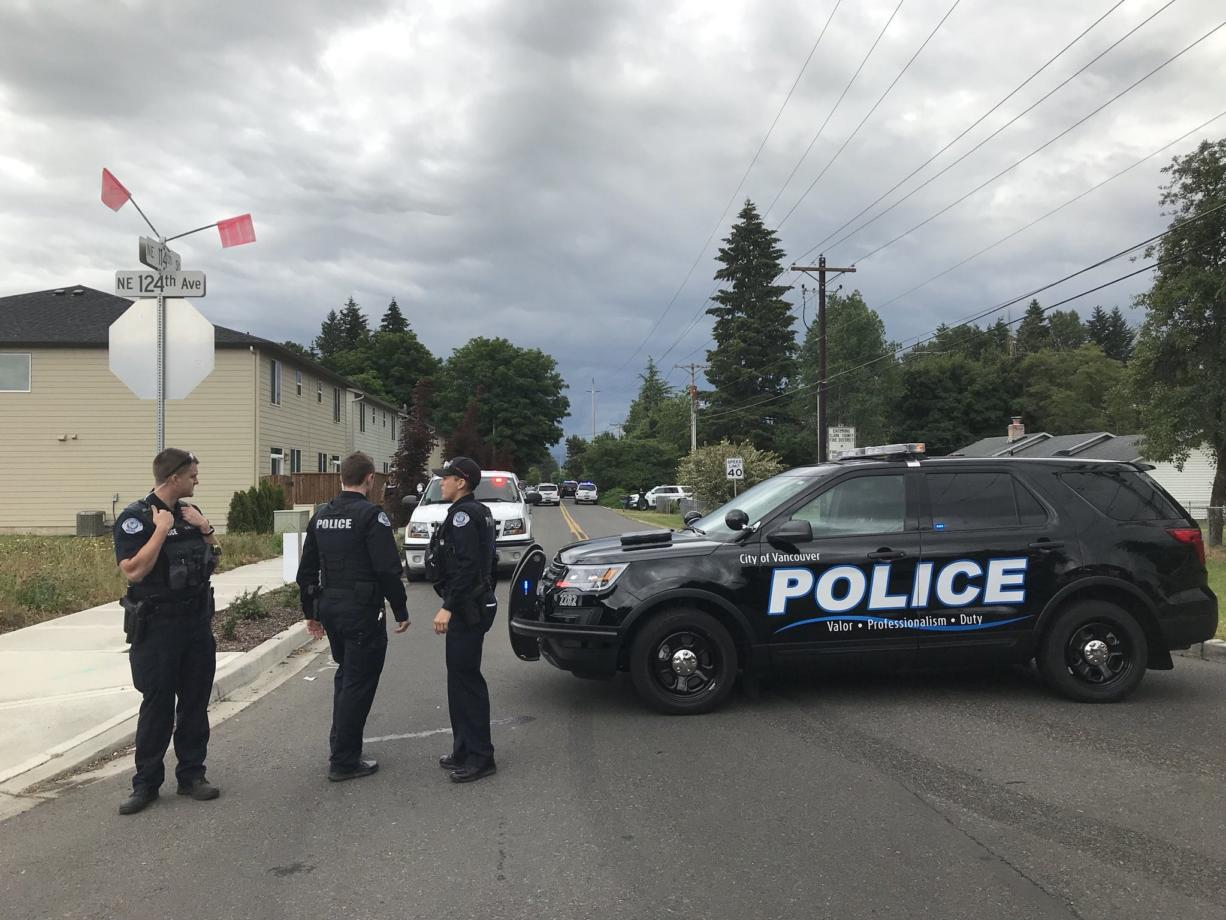 Vancouver police set up a blockade at Northeast 124th Avenue and Northeast 114th Street in Brush Prairie on June 13 after a report of possible shots fired.