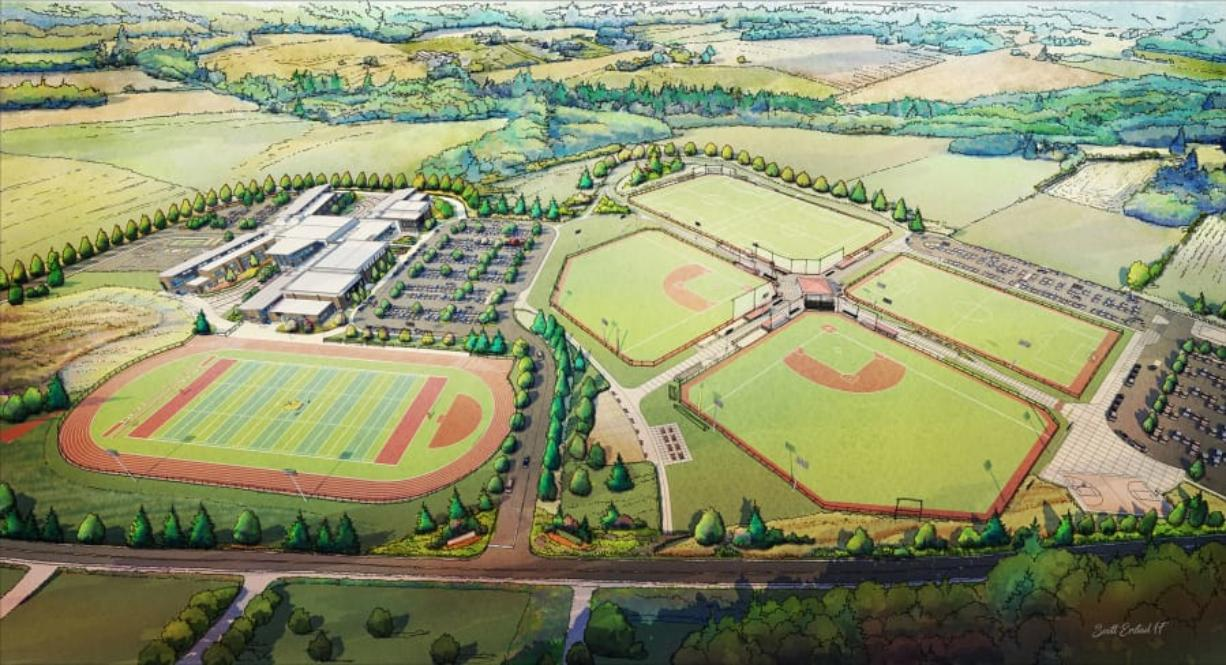 A rendering of the Ridgefield Outdoor Sports Complex, a joint project between the city and Ridgefield School District, which will feature six multi-purpose turf fields, trails, a playground and meeting space. The complex will now be the summer home to a summer team in the West Coast League, a collegiate wood-bat league.