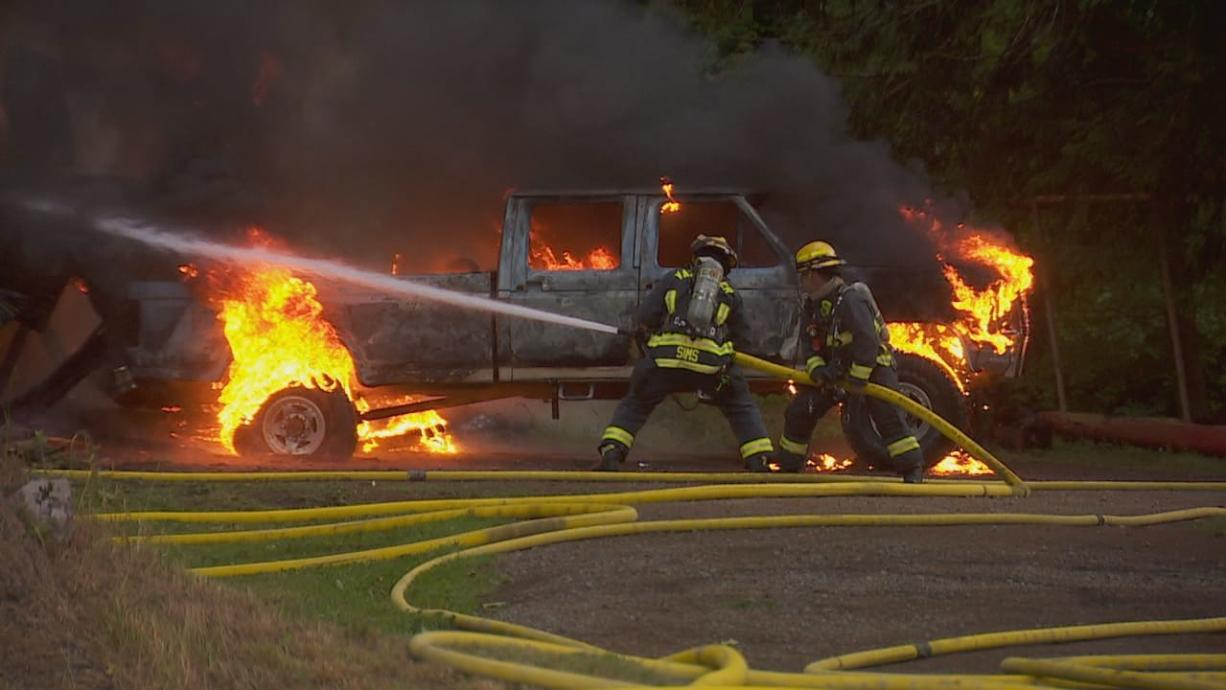 Crews battle structure fire early Wednesday in the 22600 block of Northeast 68th Street in the Proebstel area east of Vancouver.