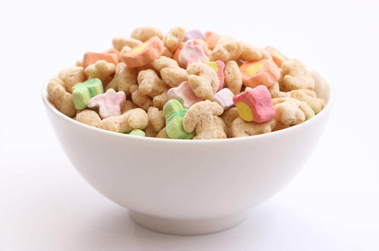 Artificial food coloring in cereal.