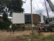 Blokable's first housing unit arrived in Edmonds over the weekend. The Seattle-based housing and technology company manufactures the units in Vancouver.
