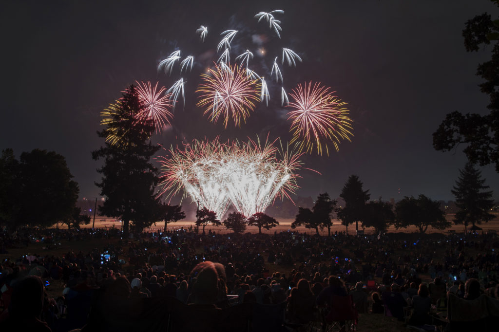 fireworks light the night sky above fort vancouver national historic site and pearson field on wedne