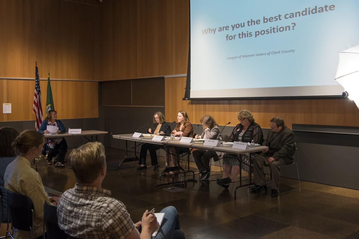 Vancouver City Council candidates Laurie Lebowsky, from left, Sarah Fox, Maureen McGoldrick, Mary Elkin, and Adam Shetler speak during a forum hosted by the League of Women Voters of Clark County at the Vancouver Community Library on Thursday, July 19, 2018.