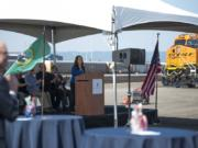 Port of Vancouver CEO Julianna Marler addresses the crowd Tuesday at the grand opening ceremony of the West Vancouver Freight Access project.
