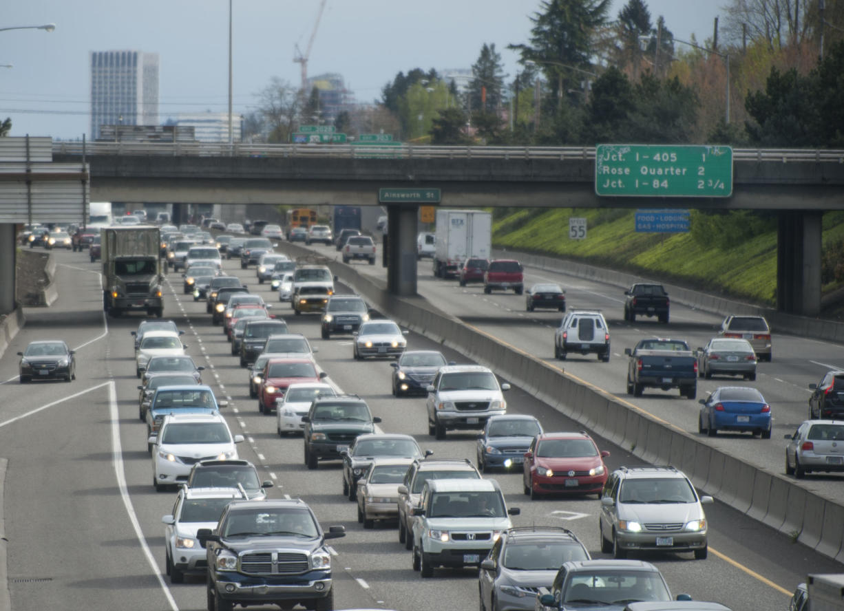 Traffic in Portland heads north on Interstate 5 in April 2015.