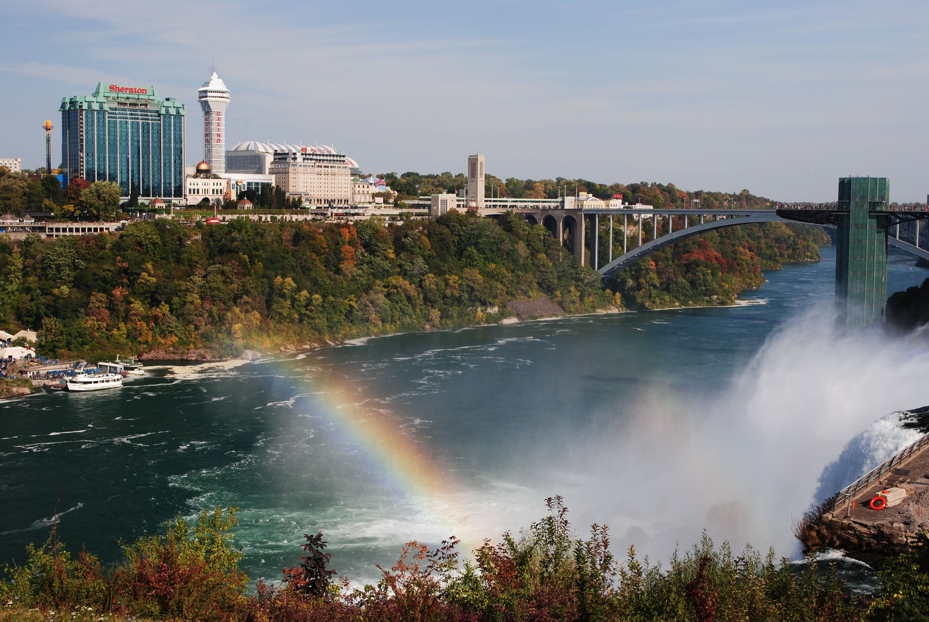 Niagara Falls (the falls and city) as seen from Goat Island State Park. (Kathleen Eussen)