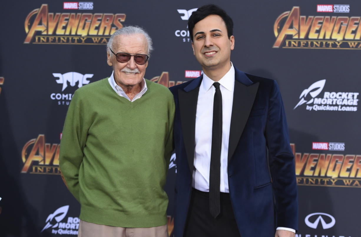 "Stan Lee, left, and Keya Morgan arrive at the world premiere of ""Avengers: Infinity War"" in April in Los Angeles. Jordan Strauss/Invision"