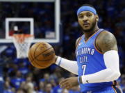 Carmelo Anthony is done in Oklahoma City as the Thunder are sending the veteran NBA forward and a 2022 protected first-round pick to Atlanta in exchange for Hawks guard Dennis Schroder and Mike Muscala.
