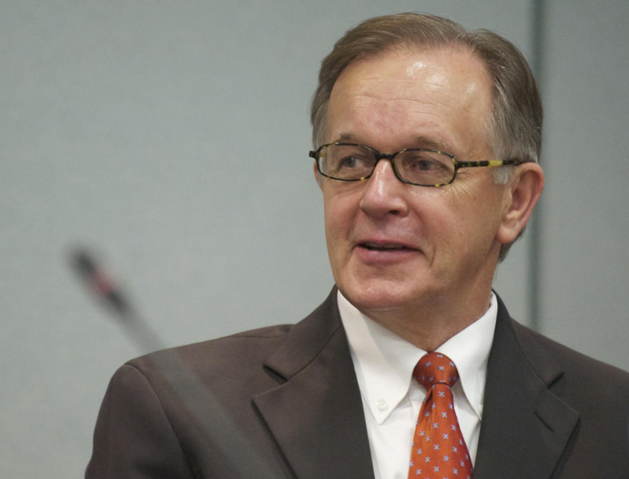Wayne Nelson, CEO and general manager of Clark Public Utilities, attends a Board of PUD Commissioners meeting in 2013.