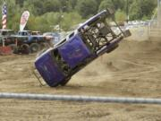 A Monster Truck goes flying — literally — on the last day of the 2017 Clark County Fair.