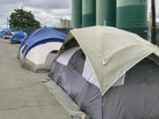 No tents were here on Wednesday, but these were back on Friday.