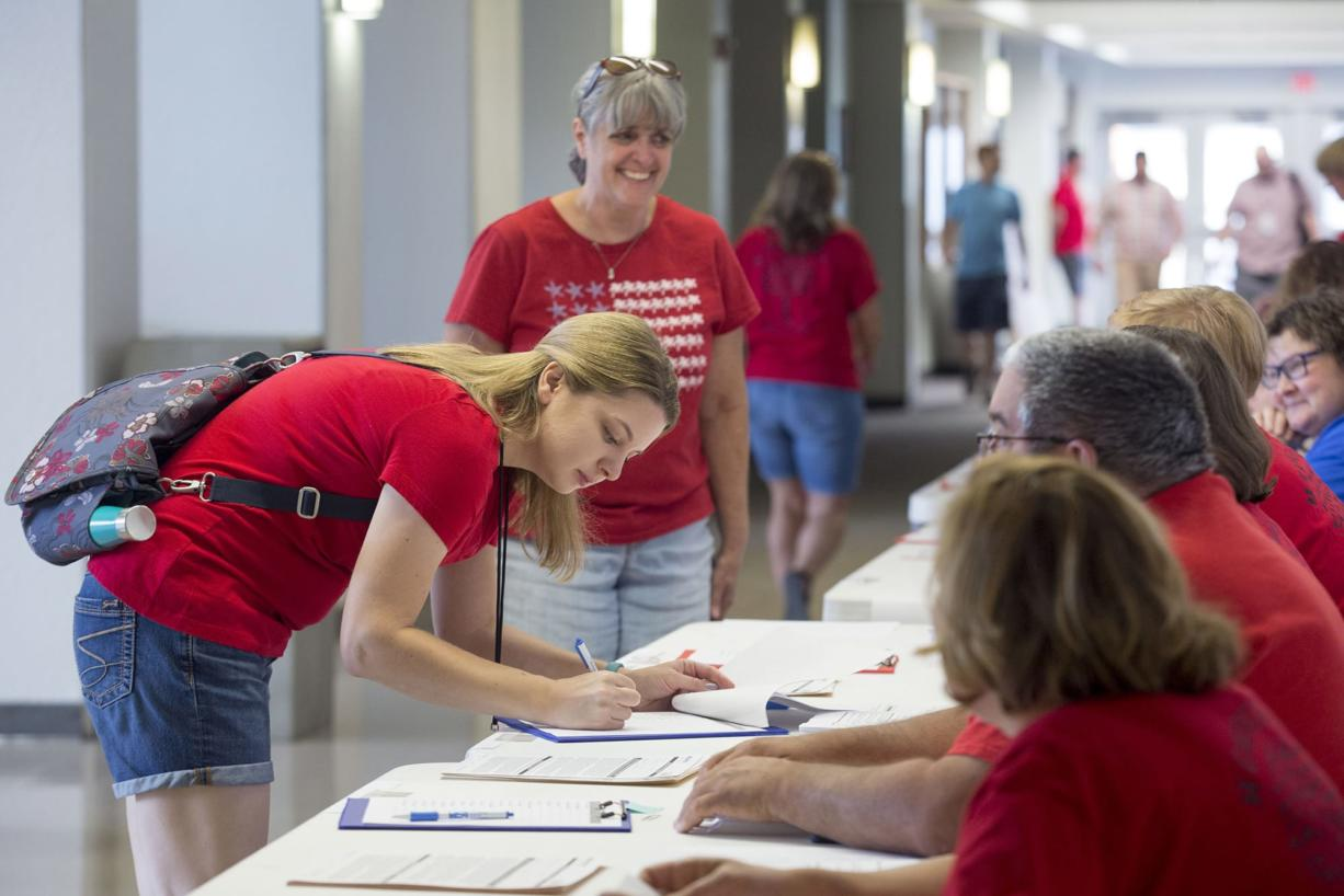 Vancouver Education Association members at a meeting at Columbia River High School on Thursday. Over the weekend, union members voted overwhelmingly in favor of a work stoppage if a new teacher contract is not in place before the start of the school year.
