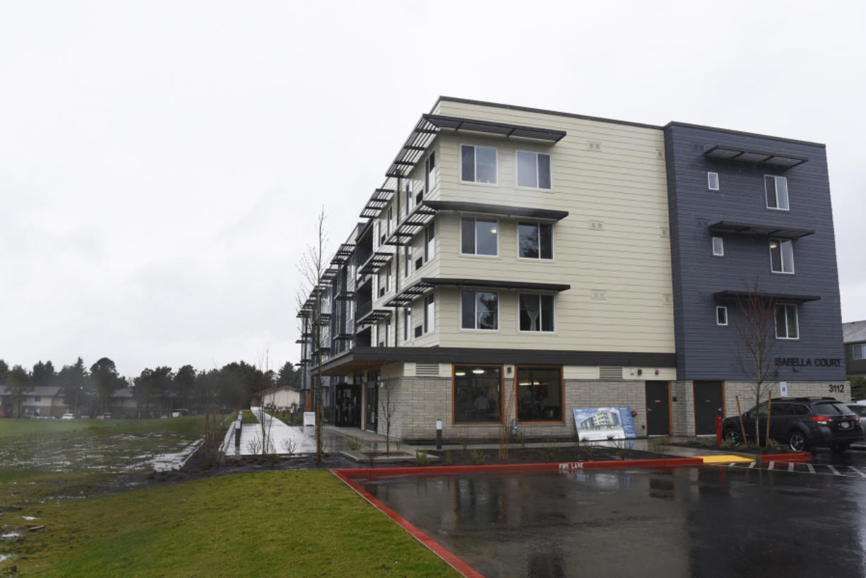 Isabella Court apartments, seen in March of 2017, were damaged in a fire over the weekend. The fire was reported at 11:14 a.m. at the large, four-story, 49-unit complex in the Bagley Downs neighborhood, according to dispatch records. The complex is owned by the Portland-based Reach Community Development nonprofit and opened last year, serving low income seniors.