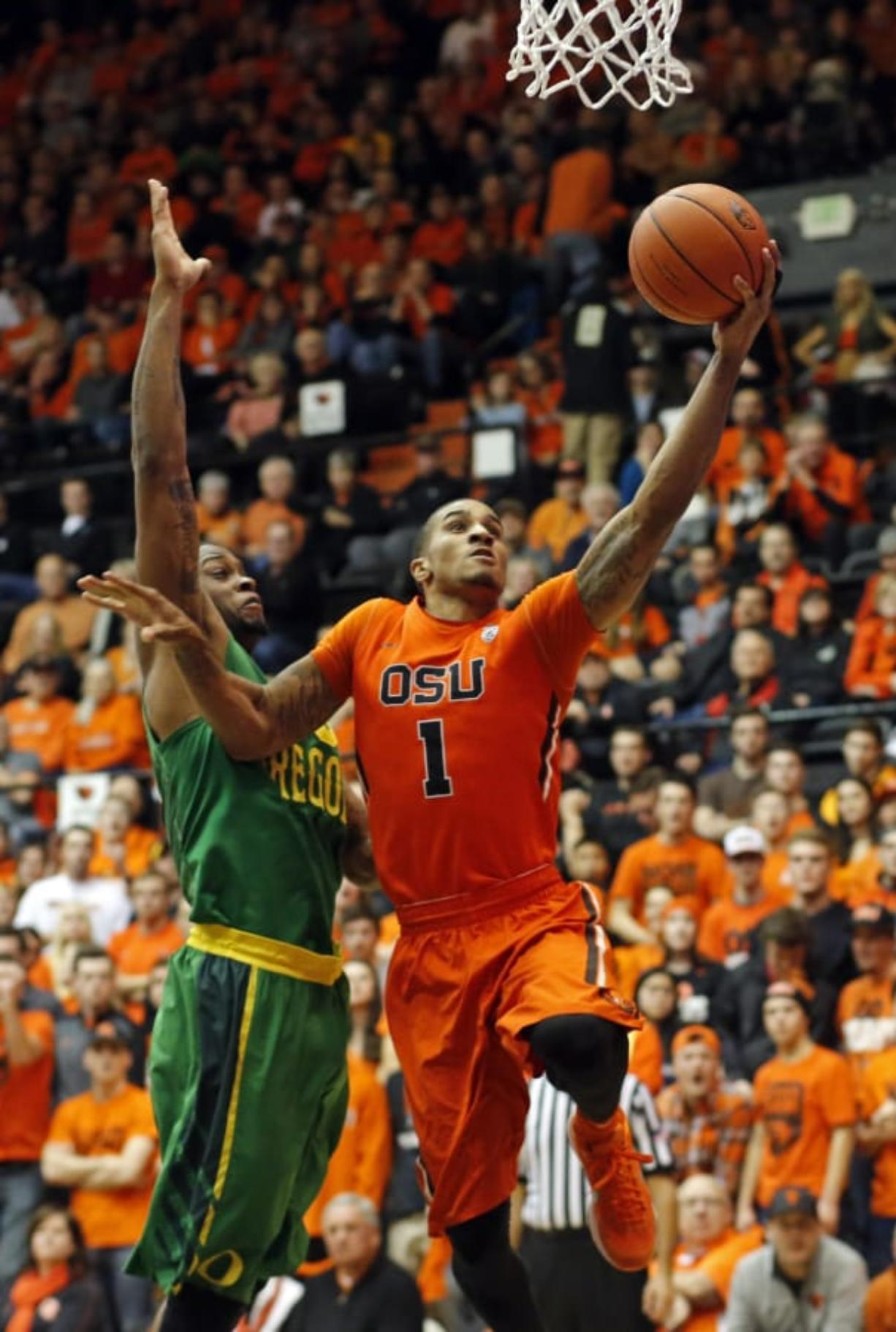Former Oregon State standout Gary Payton II (1) signed a free agent contract with the Portland Trail Blazers on Tuesday, Sept. 4, 2018. (AP Photo/Timothy J.