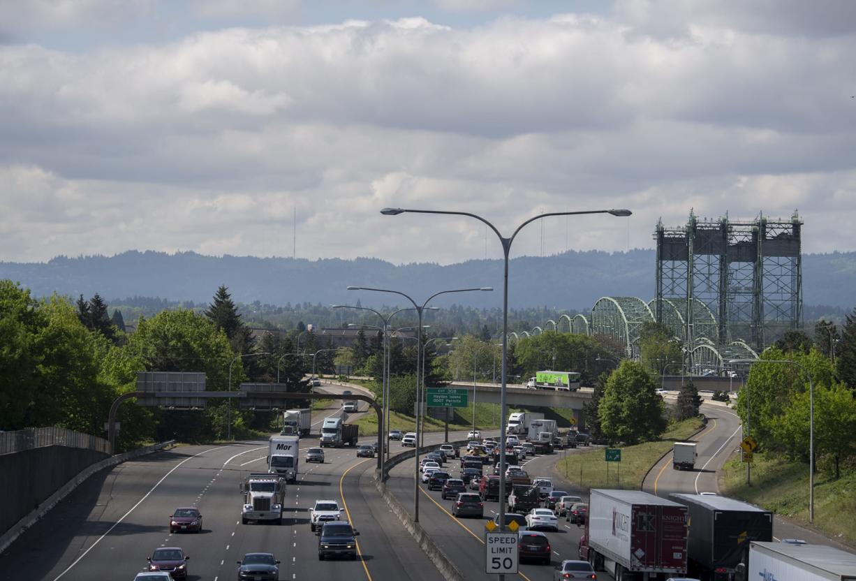 Traffic approaches the Interstate 5 Bridge on a morning in May.