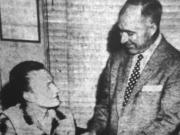 """The Columbian, May 1, 1957: """"Gene Nordstrom, seated, a junior at Fort Vancouver High School, was city manager of Vancouver today as students from Vancouver's two high schools and Providence Academy participated in Student Government Day at city hall. The youthful administrator receives some pointers on the duties of his office from his official counterpart, City Manager James E. Neal. Some 30 youngsters, appointed to the city's top administrative positions, observed city government in action during the day."""