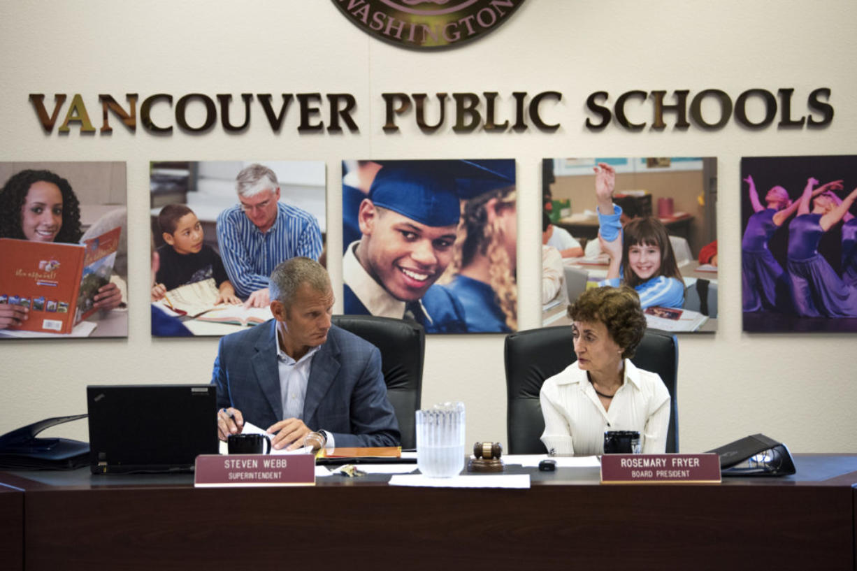Superintendent Steve Webb and Board President Rosemary Fryer begin the Vancouver Public Schools board meeting on Aug. 28.