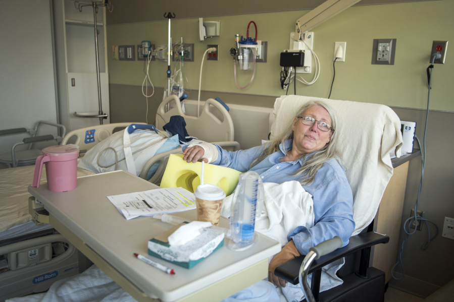 Kathrina Bateman of Skamania waits to be discharged at PeaceHealth Southwest Medical Center in Vanco