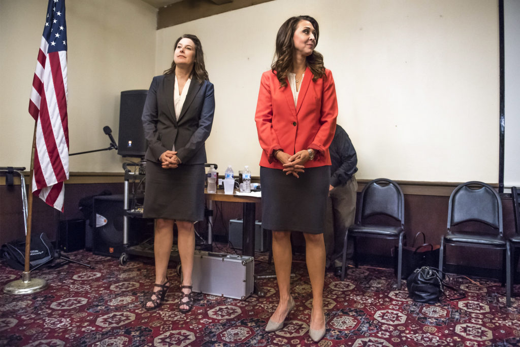 Candidate Carolyn Long, left, and Incumbent U.S. Rep. Jaime Herrera Beutler, R-Battle Ground, wait for the beginning of the 3rd Congressional Candidate Forum hosted by the Woodland Chamber of Commerce at the Oaktree Restaurant in Woodland on Tuesday afternoon, Sept. 18, 2018.