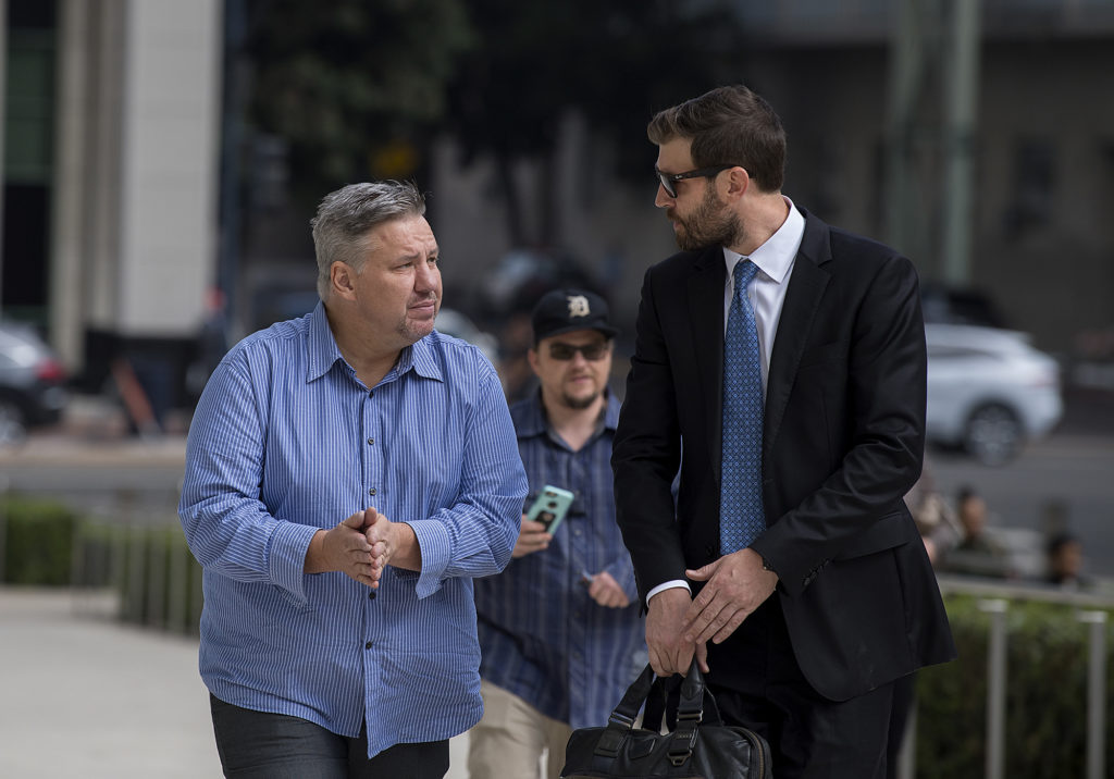 Former Vancouver pastor John Bishop, left, arrives to be sentenced for unlawful importation of a controlled substance-marijuana at the James M. Carter and Judith N. Keep United States Courthouse in San Diego, Calif., on Friday morning, Sept. 21, 2018. (Amanda Cowan/The Columbian)
