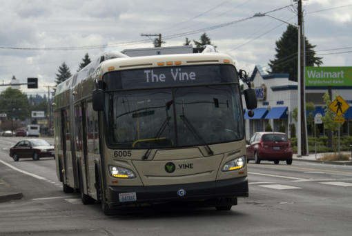 The Vine bus stops along Fourth Plain Boulevard to pick up passengers in 2018.