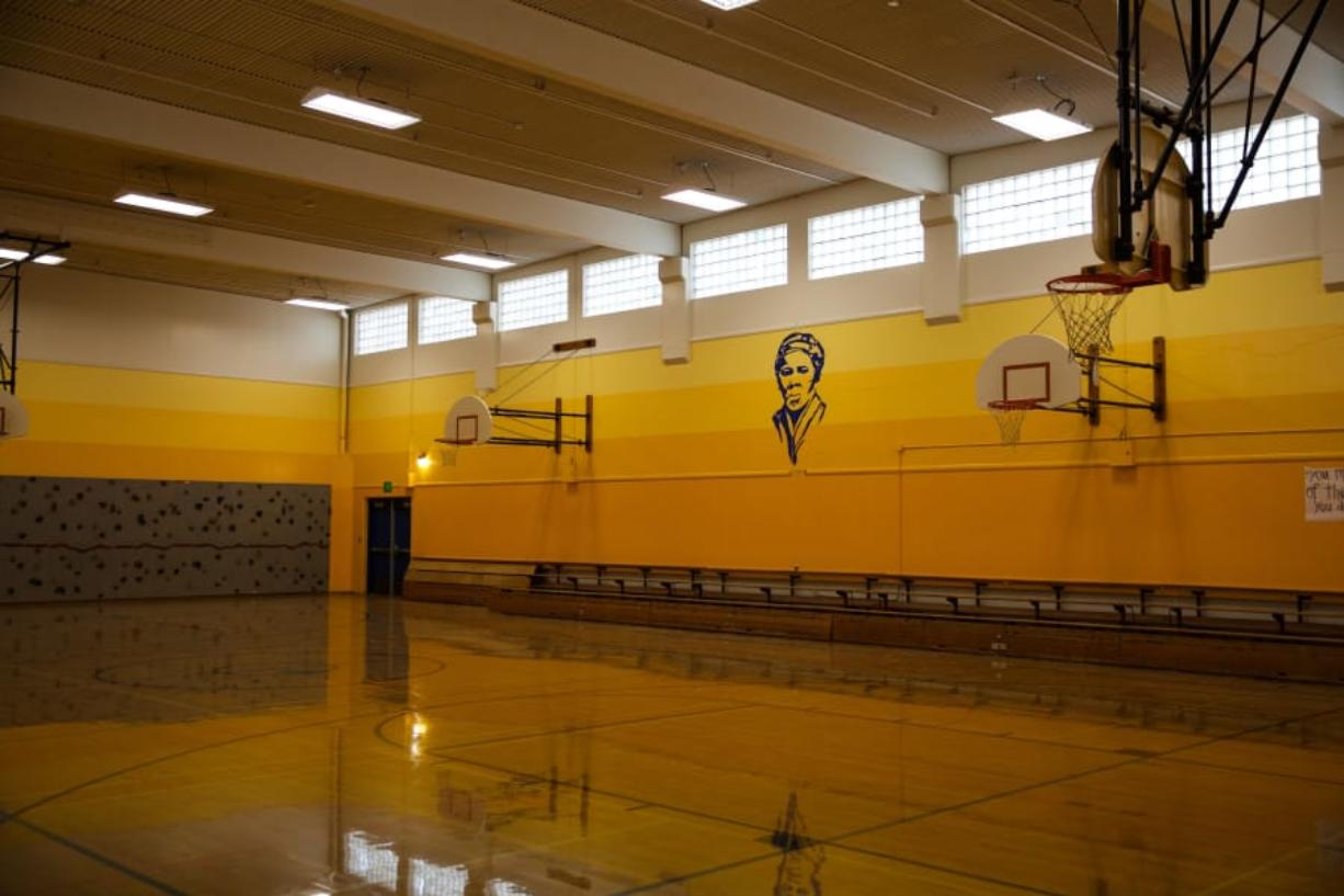 The gymnasium at Harriet Tubman Middle School features a portrait of the school's namesake.