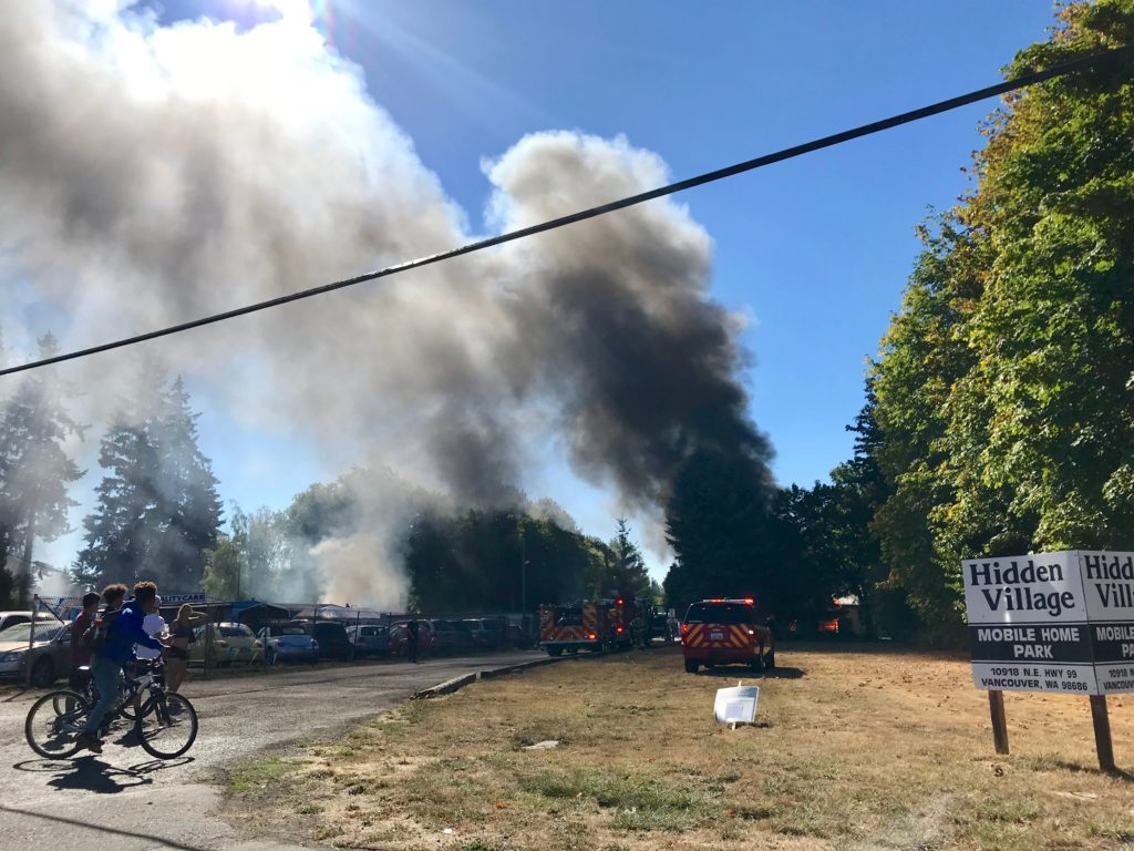 Mobile home fire blocks Hwy 99 in Salmon Creek | The Columbian on mobile home springfield mo, mobile home albuquerque nm, mobile home vancouver british columbia, mobile home tacoma wa,
