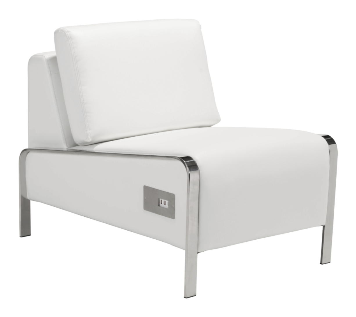 The Leeanne slipper chair from AllModern, which comes in white or black leatherette, and is equipped with three USB ports in the base.