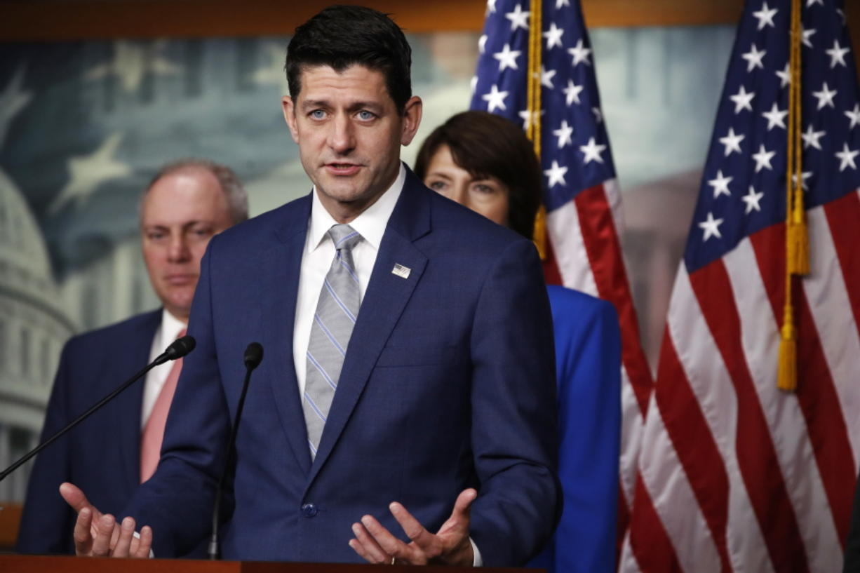 "House Speaker Paul Ryan of Wis., speaks during a news conference, Thursday, Sept. 13, 2018, in Washington. Behind him are House Majority Whip Steve Scalise, R-La., and Rep. Cathy McMorris Rodgers, R-Wash., right. Ryan is rejecting President Donald Trump's assertion an official government death toll for last year's hurricane in Puerto Rico is wrong. The Wisconsin Republican says he has ""no reason to dispute"" a study that found nearly 3,000 people on the island died from Hurricane Maria last year."