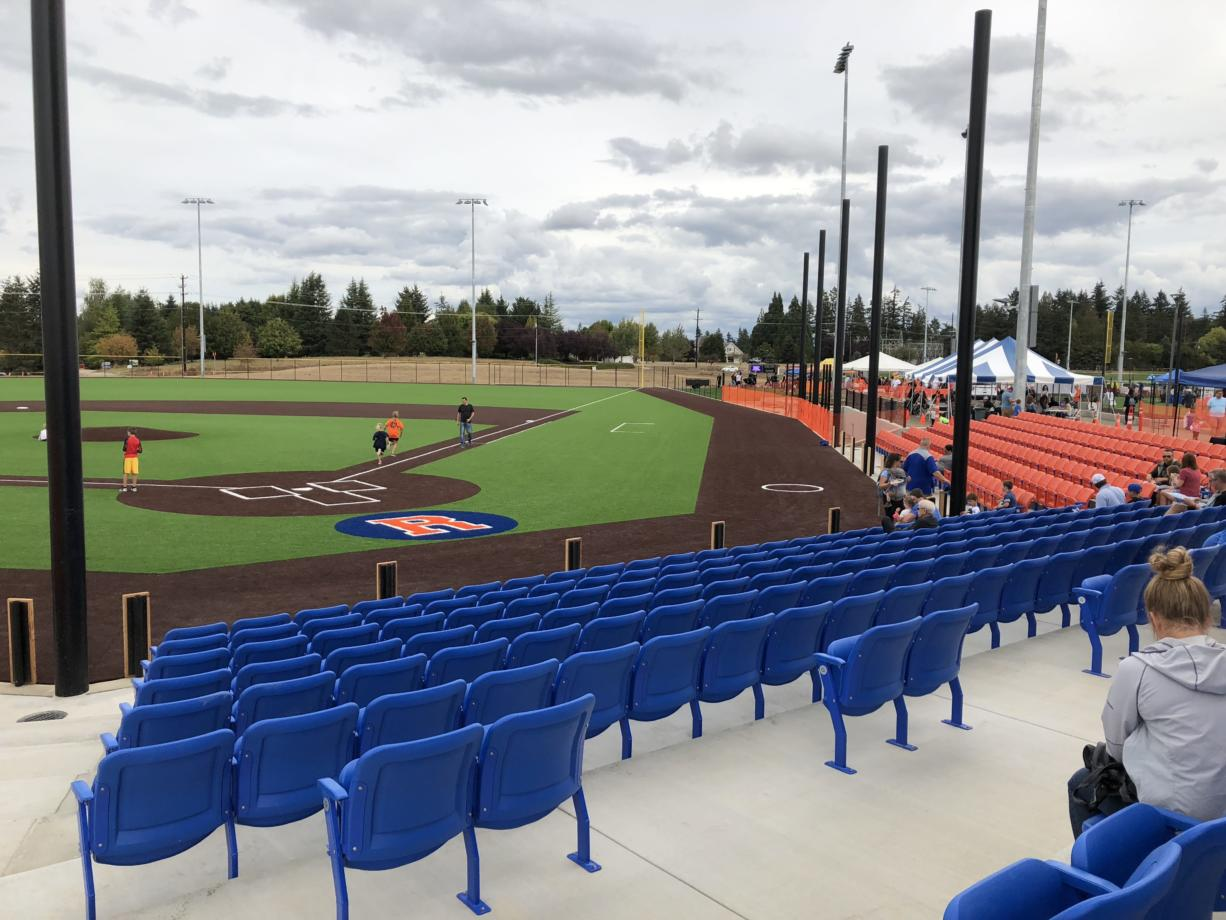 A view of the under-construction baseball field at the Ridgefield Outdoor Recreation Complex, where the Ridgefield Raptors will play next summer as part of the West Coast Baseball League (Micah Rice/The Columbian)