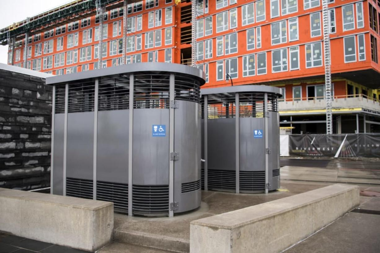 Portland Loos were recently installed at Vancouver Waterfront Park, just east of the building housing WildFin American Grill.