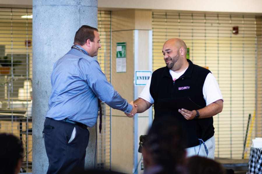 East Vancouver: Evergreen Public Schools Manager of School Safety and Security Shane Gardner, left,