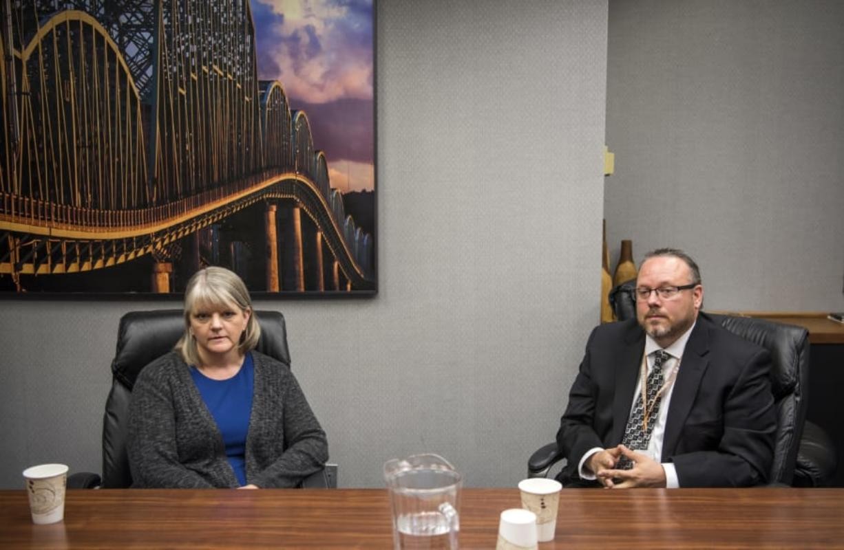 Democratic challenger Barbara Melton and Clark County Clerk Scott Weber, a Republican, talk about budgeting, computer systems and other duties of the office with The Columbian's Editorial Board.