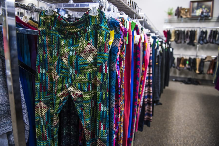 f11326354663b7 A rack of LuLaRoe leggings is seen at Spanky s Legendary Consignment on  Tuesday afternoon. Populariz