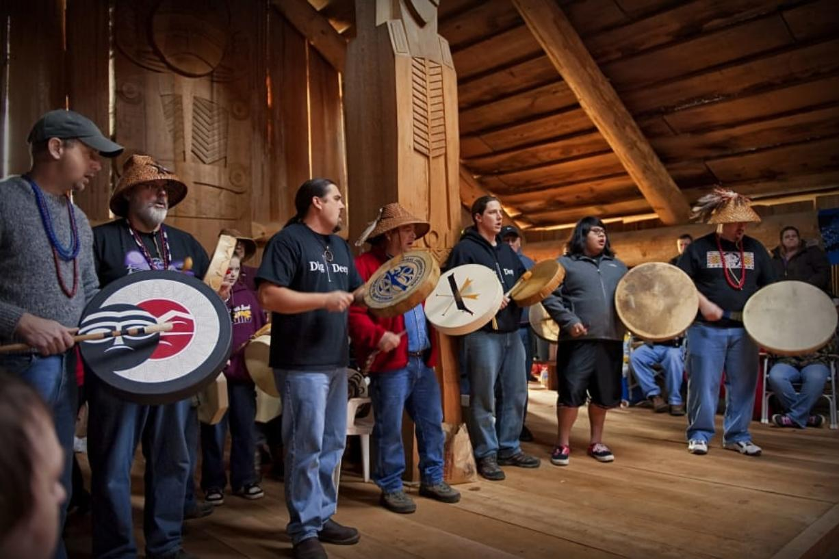 Chinook Indian Nation Vice Chairman Sam Robinson, second from right, will sing, drum and talk about the importance of music during a Thursday night presentation at the Clark County Historical Museum. Clark County Historical Museum