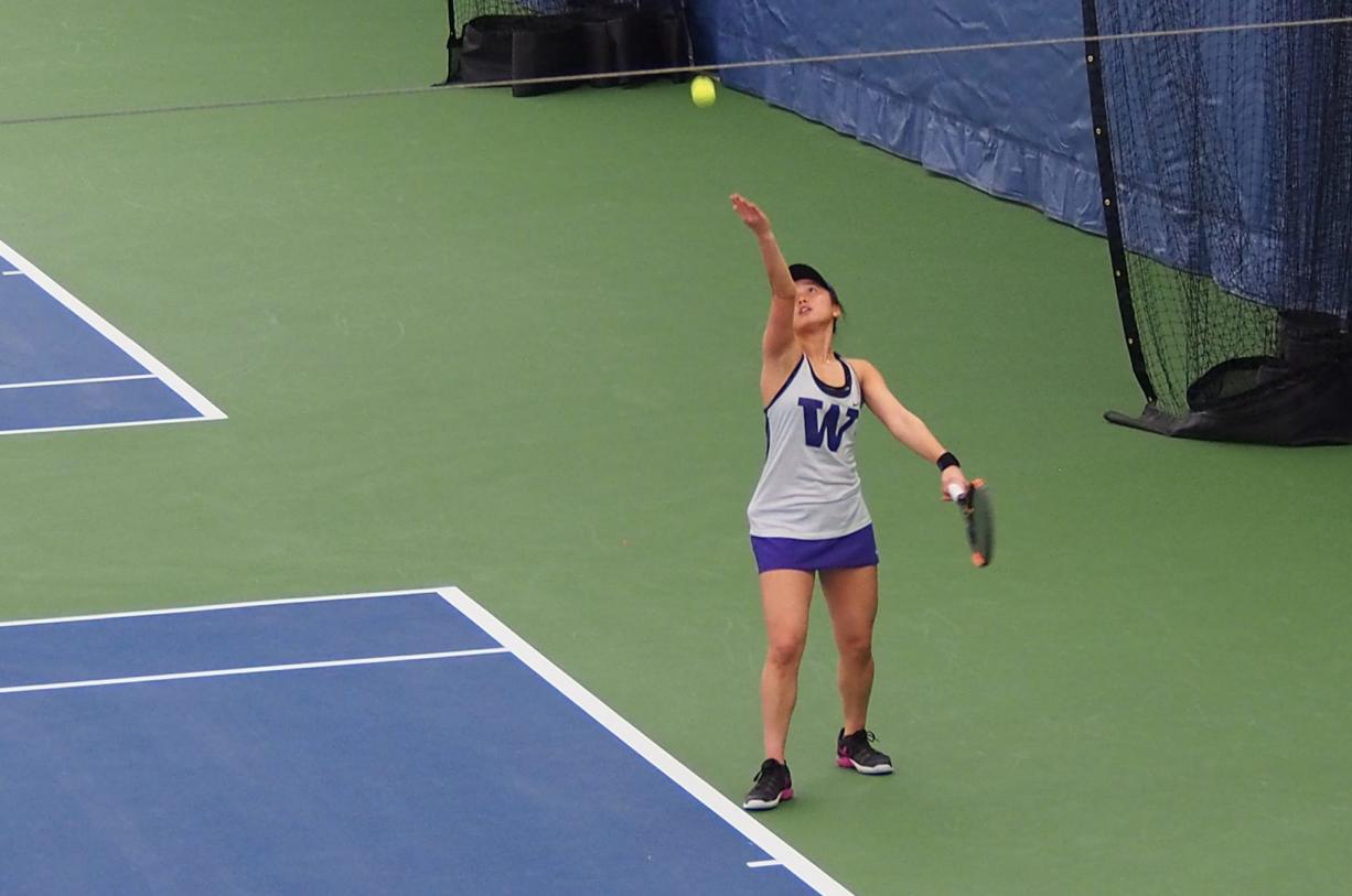 Washington junior Natsuho Arakawa serves during play at the Portland-Seattle Battle college women's tennis tournament at the Vancouver Tennis Center on Saturday, Oct. 13, 2018. Arakawa won in singles and doubles on Sunday to finish the three-day event with Portland and Portland State undefeated.