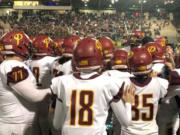 The Prairie football team celebrates after a 34-7 win over Evergreen on Friday at McKenzie Stadium, which clinched the program's first playoff berth since 2011.