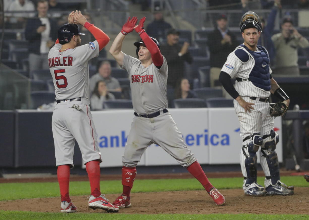 Holt 1st with postseason cycle, Red Sox rout Yankees 16-1