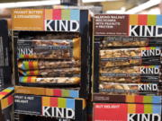 Kind snack bars on display at a supermarket in New York. The government's definition of healthy came under scrutiny in late 2015, when the FDA warned Kind that its snack bars had too much fat to use the term. Kind pushed back, saying the fat came from nuts.