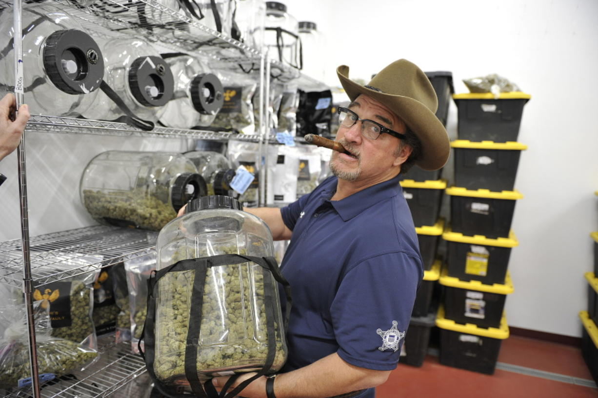 In this Monday, Oct. 15, 2018 photo, Jim Belushi tours his pot farm on the Rogue River near Eagle Point, Ore. Jim Belushi has a lifetime of memories shaped by cannabis. The famous actor, singer and community supporter describes a spiritual connection to the marijuana he's growing on his 93-acre spread near Eagle Point, known as the Belushi Farm, and its 22,000-square-foot state licensed grow.