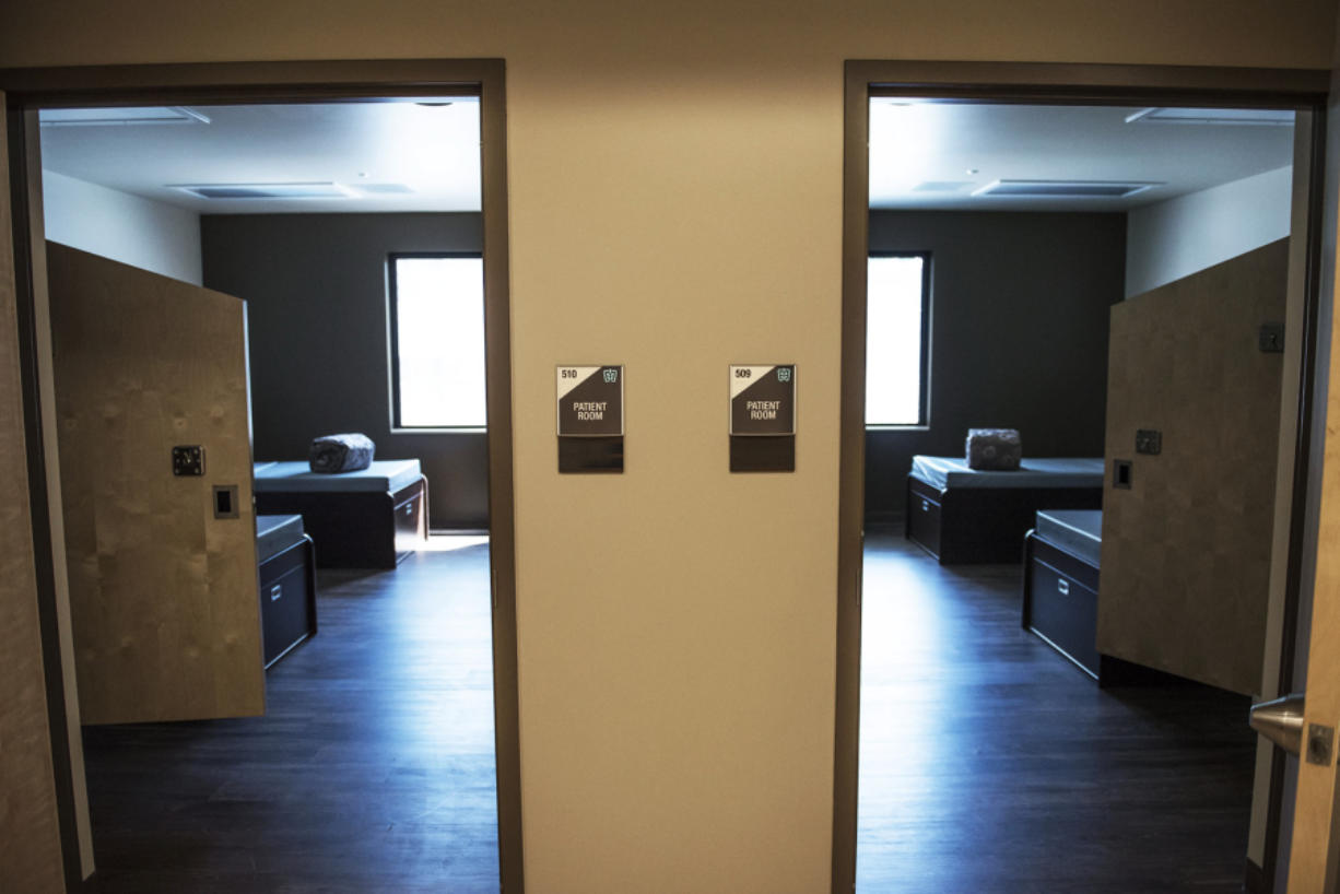 Patient rooms are seen at Rainier Springs behavioral health hospital. The aura the hospital wants to exude during treatment is one of comfort. Below: Rainier Springs is the first mental health and substance use facility in Clark County that is open to everyone, regardless of insurance type.
