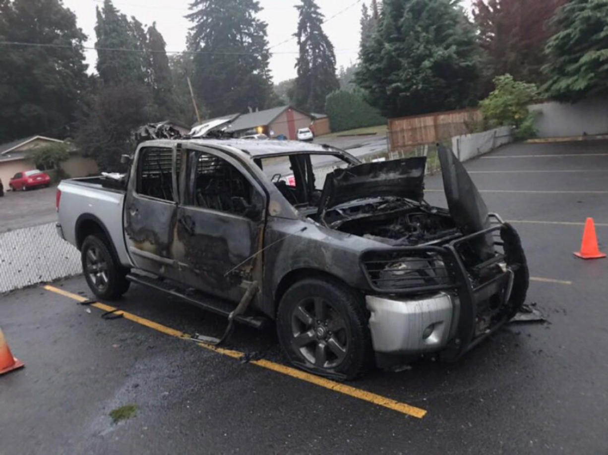 Johnny MacKay's pickup was set on fire overnight Monday after he left the vehicle in the parking lot at Garage Bar & Grille, 1101 W. Fourth Plain Blvd., Vancouver. MacKay said he believes his truck was targeted because of pro-President Donald Trump bumper stickers.