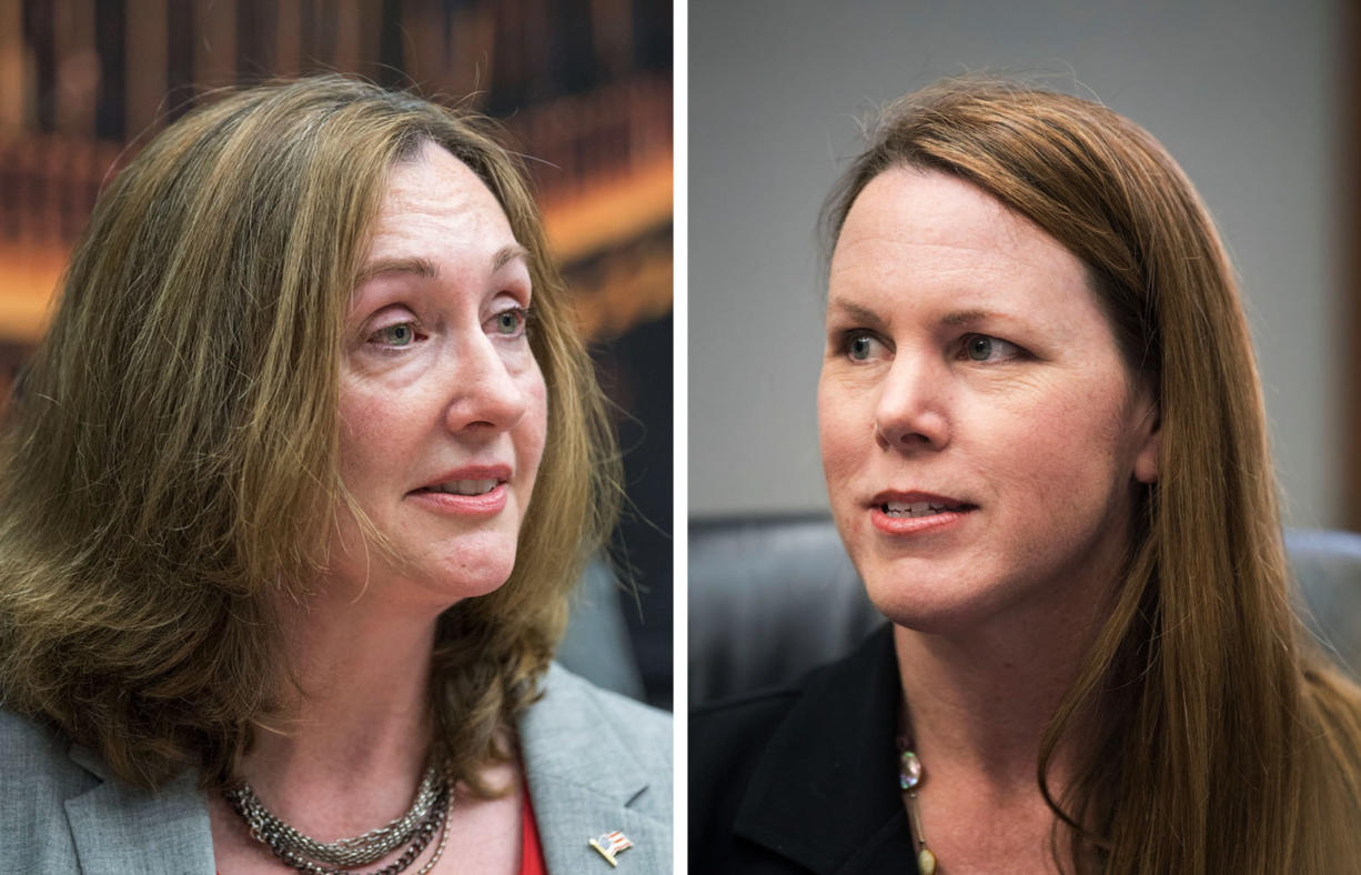 Vancouver City Council, position 1 candidates are incumbent Laurie Lebowsky, left, and Sarah Fox. (The Columbian files)