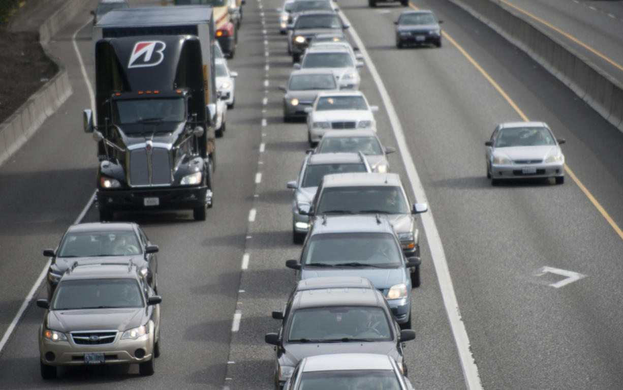 Traffic is seen heading north in Portland on Interstate 5.