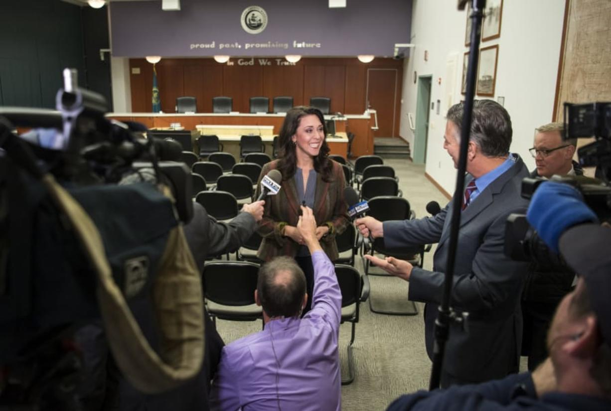 "Incumbent U.S. Rep. Jaime Herrera Beutler, R-Battle Ground, talks with Portland television stations at the Clark County Public Service Center on Tuesday. Herrera Beutler said she's humble given the modest lead. ""I was very heavily out-raised,"" she said. (Alisha Jucevic/The Columbian)"