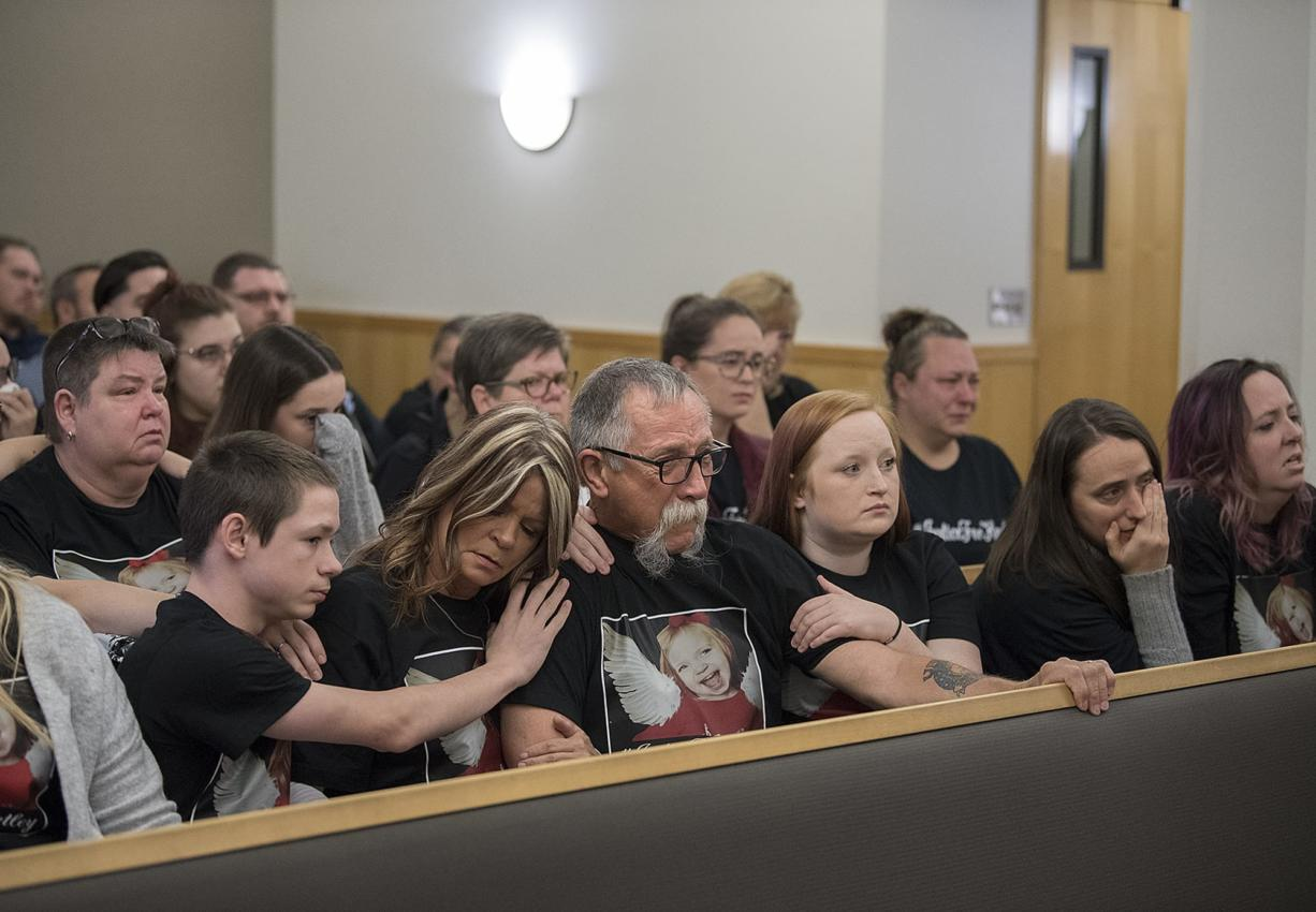 Family and friends of Hartley Anderson gather for the first appearance of Ryan M. Burge, who is suspected of killing the 5-year-old, at the Clark County Courthouse on Monday morning, Nov. 5, 2018.